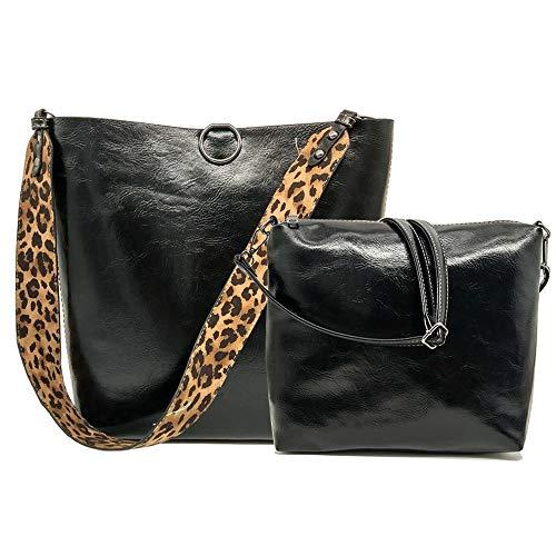 FiveloveTwo Donna 2Pcs Borsa Set Leopardato Cucitura Borsa a Spall Mano Tracolla Pelle Sintetica Sacchetti Hobo Sacchetto Tote Shoulder Bag