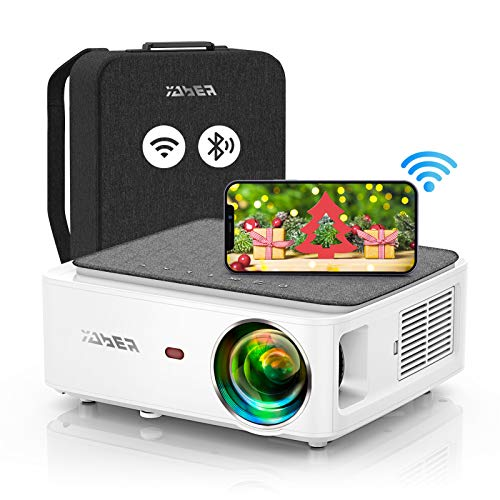 YABER V6 WiFi Bluetooth Projector 8500L Upgrade Full HD Native 1920×1080P Projector, 4P/4D Keystone Support 4k&Zoom, Portable Wireless LCD LED Home&Outdoor Video Projector for iOS/Android/PS4/PPT