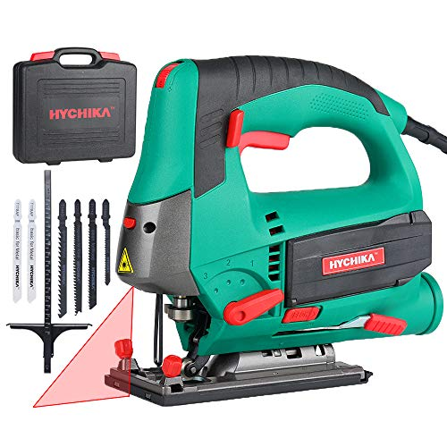 Jigsaw, 6.7A 800W HYCHIKA Jig Saw 800-3000SPM with 6 Variable Speeds, 4 Orbital Sets, Bevel Angle 45°, 6PCS Blades, Pure Copper Motor, Laser Level, Carrying Case Wood Metal Plastic Cutting
