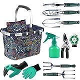 inno stage set di attrezzi da giardino con 11 pezzi di utensili a mano per donna, borsa per attrezzi da giardino con attrezzi pesanti, organizzatore per attrezzi da giardino con manico pieghevole