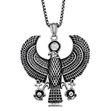 JAJAFOOK Men's Silver Stainless Steel Egypt Horus Falcon Pendant Punk Biker Necklace, 24