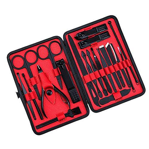 Maniküre-Set, 20-teiliges Set Nagelknipser, tragbar, für Reisen, Pediküre, Hygiene-Set aus Edelstahl, Nagelschneider, Werkzeug mit Schieber, eingewachsene Nagelfeile Politurpinzette