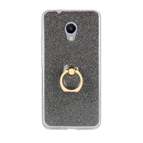 Sunrive Kompatibel mit Meizu MX4 Pro Hülle,360 Grad drehender Ring Kickstand Schutzhülle Etui weiche TPU Abdeckung + Glitzer Bling Papier Hülle TPU MEHRWEG (Ring Schwarz)