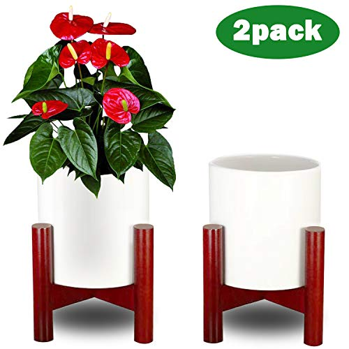 Flower Pots with Stand,Small Succluent Planter Pots with Drinage with Wooden Holder,Indoor Ceramic Pot with Adjustable Modern Brown Holder,Outdoor White Garden Cactus Planters 2 Pack