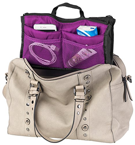 Xcase Kulturbeutel: Handtaschen-Organizer mit 13 Fächern, 26 x 16 x 8 cm, waschbar, lila (Innentasche)