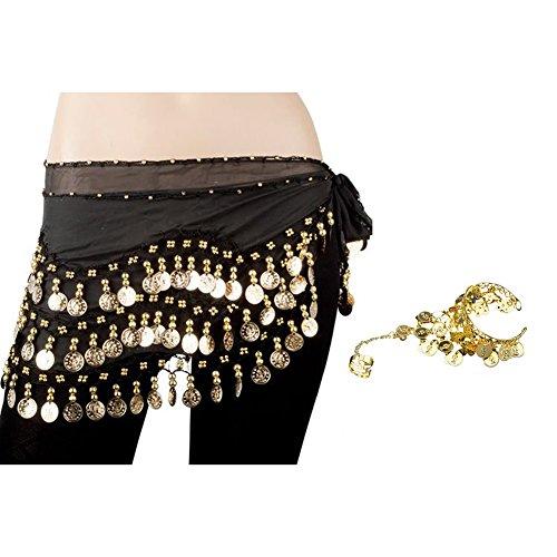 Bellylady Gold Coins Belly Dance Hip Scarf, Wholesale Dance Belt & Gypsy Bracelet, Black, One Size