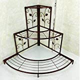 lifebea Maceteros de salón de tres pisos de hierro forjado de múltiples capas de soporte de flores de esquina para macetas (color: blanco, tamaño: L) macetas (color: bronce, tamaño: grande)
