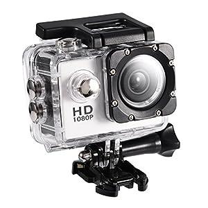 Mini DV Sports Camera,Action Camera 4K Waterproof 30m Outdoor Sports Video DV Camera 1080P Full HD LCD Mini Camcorder Mounting Accessories Kits(White)