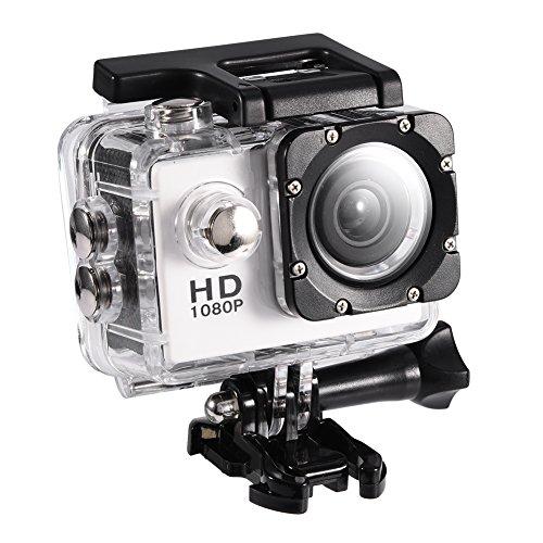 Mugast DV Sport Camera, 7Colors Mini Videocamera Impermeabile Portatile ad Alta Definizione Resistente all Acqua Fino a 30 Metri di Supporto per Scheda di Memoria 32G(Bianco)