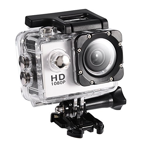 Tangxi Mini DV Sports Camera, 2inch Waterproof Outdoor Cycling Action Camera of High Definition with Wide Angle Support Water-Resistant up to 30 meters (White)