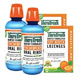 TheraBreath Gluten-Free Fresh Breath Oral Rinse, ICY Mint, 16 Ounce Bottle (Pack of 2) and TheraBreath Dry Mouth Lozenges with ZINC, Mandarin Mint Flavor, 100 Lozenges (Pack of 2)