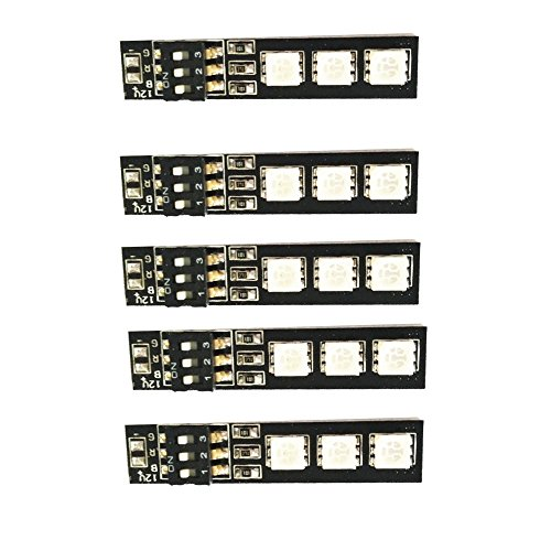 QWinOut 5Pcs RGB 5050 LED Light Board 5V 7 Colors Switch for RC 250 Racing Drone DIY FPV Quadcopter Multicopter Helicopter Car Airplane