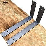 Made in USA by DIY CARTEL - Industrial Forged Steel Floating Shelf L/J Bracket - Heavy Duty Rustic Designed Shelf Brackets - Raw Hot Rolled Steel/Metal - 2 Pack (11-inch X 6-inch)