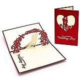 Jourbon Invitations De Mariage 3D Personnalisées Invite 1Pc Carte De Voeux avec Amour Coeur Mariage Félicitations Bijou-Vin...