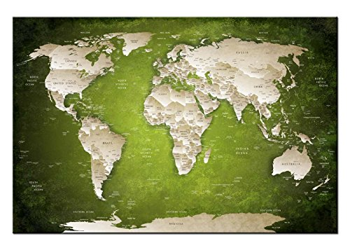 Dsign24 Weltkarte edel als Leinwandbild Wandbild 120 x 80 cm – Wanddeko, Kunstdruck, Keilrahmen Globus World Grün A05049