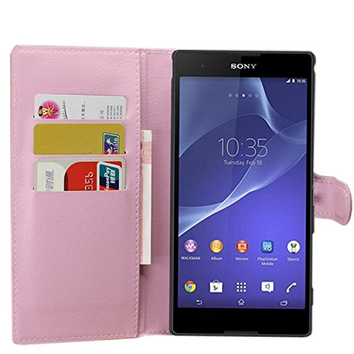 Ycloud Tasche für Sony Xperia T2 Ultra (6 Zoll) Hülle, PU Ledertasche Flip Cover Wallet Hülle Handyhülle mit Stand Function Credit Card Slots Bookstyle Purse Design rosa