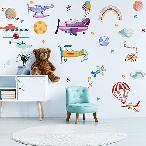 JC-Houser - Adhesivo decorativo para pared, diseño de avión y nube y planeta, 28 unidades, adhesivo decorativo para pared para sala de clases, habitación infantil o sala de juegos