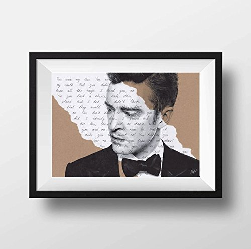 Justin Timberlake Drawing with Cry me a River lyrics - Giclée art print A5 A4 A3 size portrait artwork