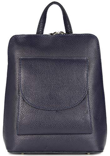 Belli Backpack Denver mittelgroßer Italienischer Damen Leder Rucksack Rucksacktasche Handtasche Cross Body Bag 3in1-23x28x8cm (B x H x T) (Blau)
