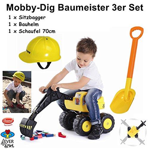 4everspiel/Gowi Mobby-Dig Baumeister 3er Set / Sitzbagger + Bauhelm + Schaufel