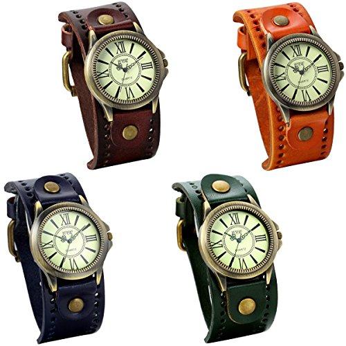 JewelryWe 4pcs Damen Armbanduhr Vintage Casual Analog Quarz Leder Band Uhr mit römischen Ziffern Zifferblatt Braun Orange Blau Dunkelgrün
