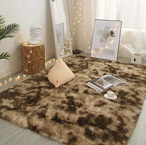 N Una cómoda decoración del hogar alfombra sala de estar mesa de café dormitorio alfombra super suave y fácil de cuidar de las esteras del piso del hogar 50 x 80 cm/Bruin Lang Fluweel