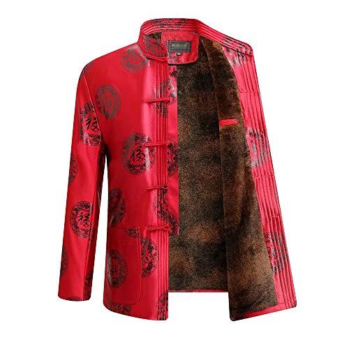 XFentech Homme/Femmes Veste de Costume Tang - Automne Hiver Vêtements de Mariage Chinois à Manches Longues, M/Rouge - Hommes (Plus Doublé de Velours