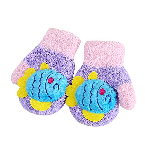 Price comparison product image Hattfart Cute Cartoon Animal Patchwork Knitted Gloves Girls Kids Winter Thermal Thick Warm Full-finger Hand Wear Gloves (Purple)