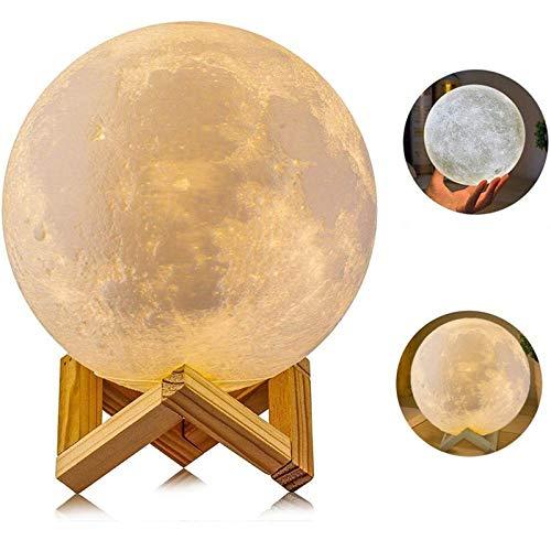 Lámpara de Luna, AGM 2 Colores LED Luz Luna, 15cm Lampara Luna Nocturna Control Remoto & Táctil, Cargador USB Lámpara de Ambiente para Regalo de Fiesta (2 Colores-A)