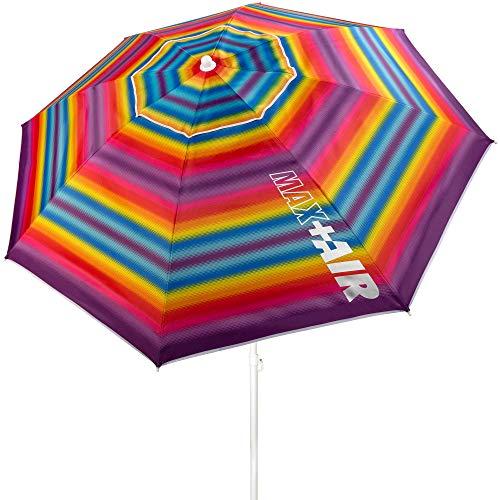 Aktive 62218 - Sombrilla de playa grande con techo de ventilación, protección UV 50, multicolor, mástil flexible, diámetro200 cm, incluye bolsa de transporte