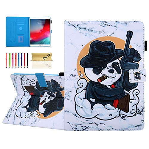 Dteck Folio Case for iPad Air (3rd Generation) 10.5' 2019 / iPad Pro 10.5 Inch 2017 - Multiple Viewing Angles Smart Stand Leather Shockproof Case Soft Back Cover with Elastic Pencil Holder-Cool Panda