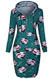 Miusey Christmas Clothing for Women Plus Size,Miss Zip Up Fall Dresses with Pocket Knee Length Snowman Tunic Sweatshirts Oversize Snowflake Long Hoodies Cyan XXL