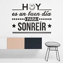 zrisic Wall Stickers Hoy ES Un Buen Dia para Sonreir Spanish Frase Wall Vinyl Decals Inspiration Lettering Murals 57x43cm