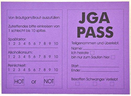 10 X JGA PASS Ausweis Junggesellenabschied zum Ausfüllen Scherzartikel Pass Party by schenkfix