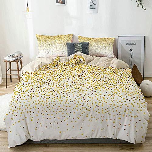 Juego de funda nórdica beige, círculos y rondas con forma de confeti inspirados en fiestas, efecto caído, juego de cama decorativo de 3 piezas con 2 fundas de almohada, fácil cuidado, antialérgico, su