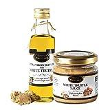 Aceite de trufa blanca con oliva virgen extra Tuber Magnatum Pico (100 ml) para cocinar, servir, ensaladas y Salsa gourmet de lujo, ideal para carne, pan a la parrilla, pasta, risotto, sushi (80 g)