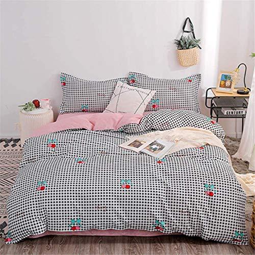 HJSM - Juego de ropa de cama de microfibra (4 piezas, 150 x 200 cm), color rosa