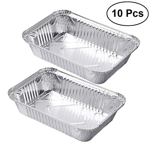 BESTOMZ 10pcs Barquettes aluminium Plat de Cuisson rectanguilaire Plateau à tarte pour Griller,Cuisson,Chauffage