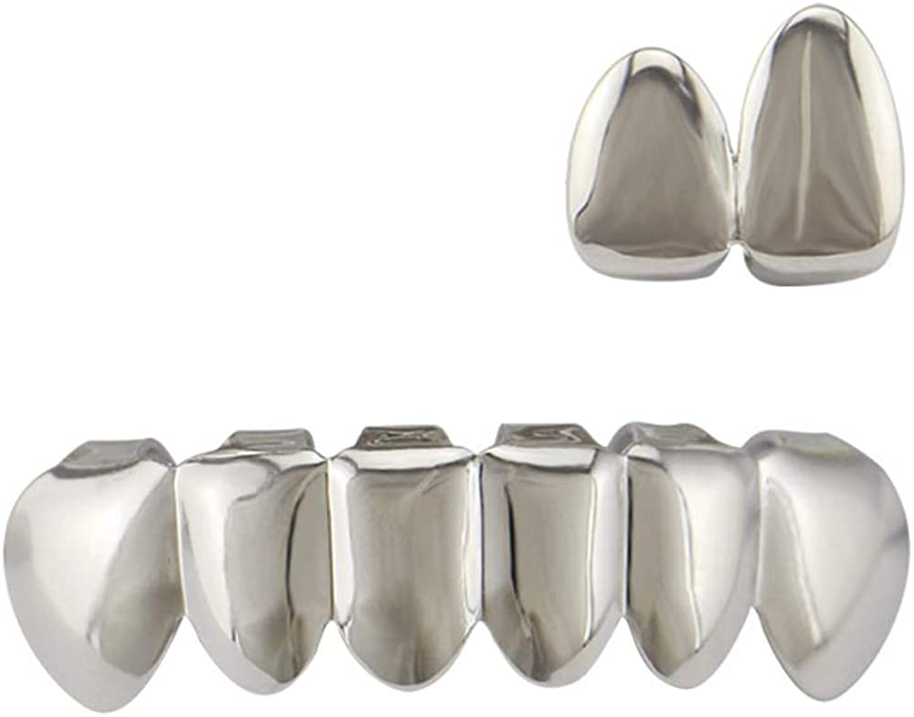 OOCC 2PC Single Top Plated Grillz and Vampire Fangs Dracula Bottom Hip Hop Teeth Grillz Set