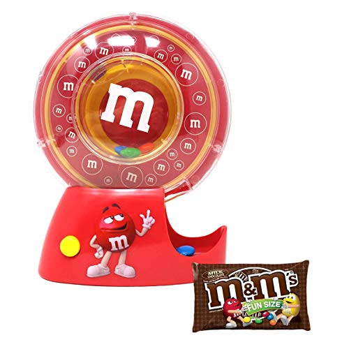 M&M Candy Dispenser Push Button to Spin and Dispense Candies Includes Fun Size Bag of Chocolates, 7 x 5.75 Inches