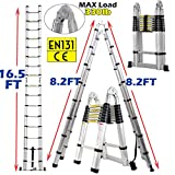 16.5FT Telescopic Folding Ladder Extension Aluminum 2.5M+2.5M A-Frame 5M Straight Ladder Telescoping Portable Foldable Anti-Slip Steps Multi-Purpose With Support Bar EN131 Safe Standard MAX Load 330LB