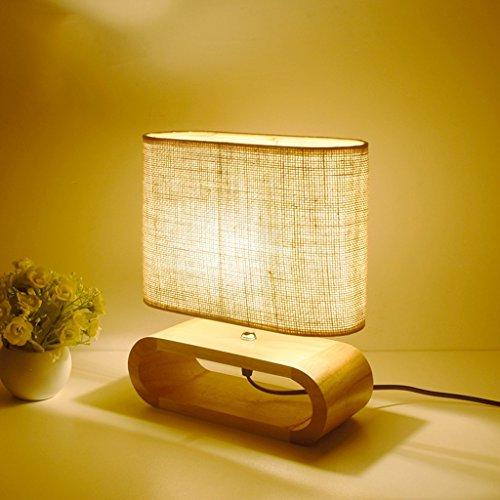 Lampe de table en bois, lampe de chevet, chiffon Lampe de bureau Salon Étude Décoration Petite lampe (Couleur : E14 bulb [LMD-0122])