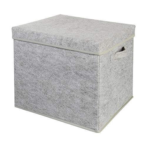 Wenco Filz-Aufbewahrungsbox mit Deckel, bis 5 kg, 37 x 33 x 5 cm, Grau, 525862