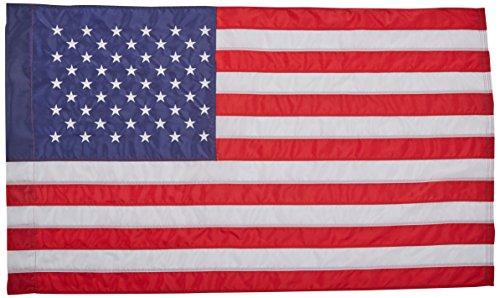 Annin Flagmakers Drapeau américain SolarGuard Nyl-Glo, 100 % fabriqué aux États-Unis, avec rayures cousues, étoiles brodées et manchon style bannière, 6,3 x 1,2 m