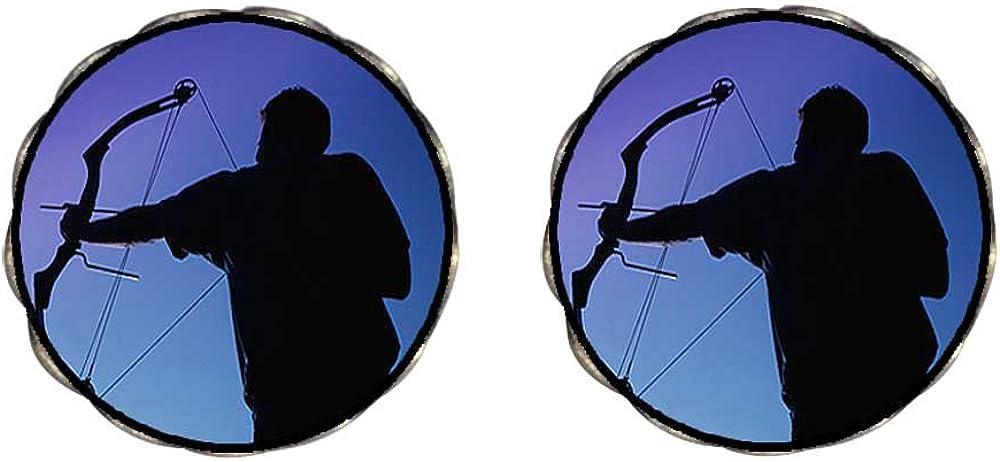GiftJewelryShop Bronze Retro Style Olympics Archery Photo Clip On Earrings Flower Earrings 12mm Diameter