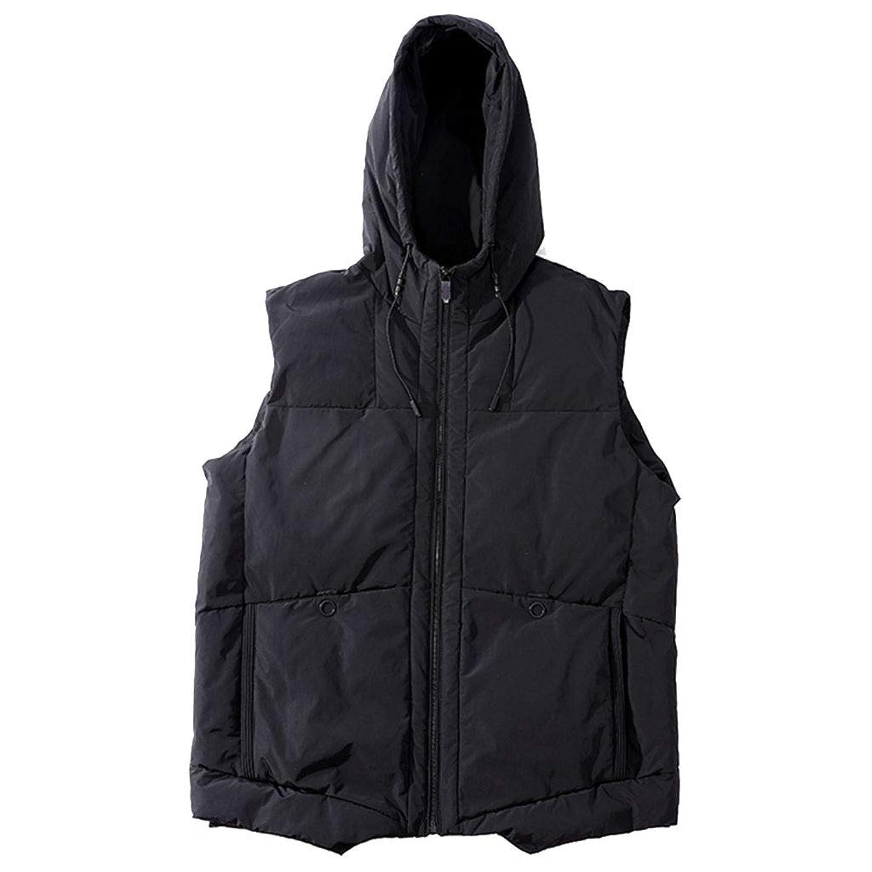 タンクトップ ベストは、大きいサイズのメンズ冬プラス肥料XLメンズフード付きの綿のベストのベスト緩いベストの綿のベストノースリーブジャケットカジュアルベストのジャケットのジャケットを権利確定しました (Color : Black, Size : 2XL)