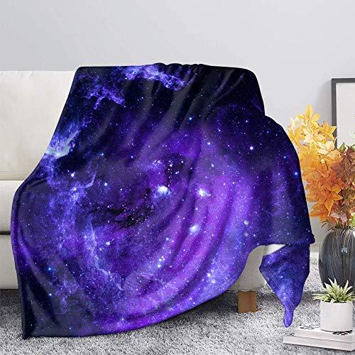 Manta Patrón Fluorescente Blanco púrpura 3D Impresión Manta de Franela Suave Franela Cálida Manta de Lana para Cama,sofá,Silla,Viaje,etc 130 cm x 150 cm