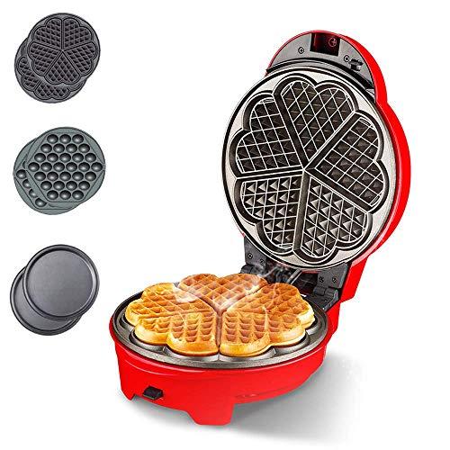 SeesEE.U - Waffle Maker 3 en 1, Waffle Iron para gofres belgas clásicos, con forma de corazón, gofres belgas, waffle Maker, diseño retro, 640 W
