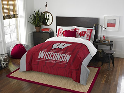 Officially Licensed NCAA Wisconsin Badgers 'Modern Take' Full/Queen Comforter and 2 Sham Set