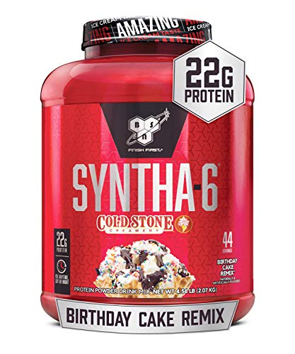 BSN Syntha-6 Whey Protein Powder, Cold Stone Creamery- Birthday Cake Remix Flavor, Micellar Casein, Milk Protein Isolate Powder, 25 Servings